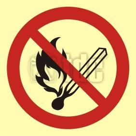 Znak zakaz używania otwartego ognia - palenie tytoniu zabronione BA 002