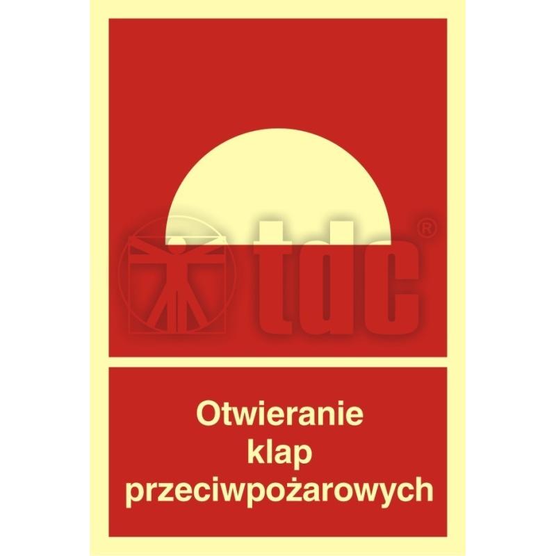 Znak otwieranie klap przeciwpożarowych BB 010