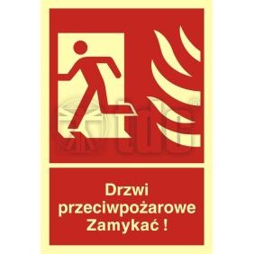 Znak drzwi przeciwpożarowe. Zamykać! Kierunek drogi ewakuacyjnej w lewo BB 011