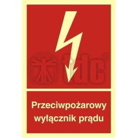 Znak przeciwpożarowy wyłącznik prądu BB 012