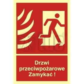 Znak drzwi przeciwpożarowe. Zamykać! Kierunek drogi ewakuacyjnej w prawo BB 014