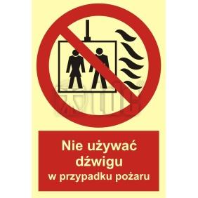 Znak nie używać dźwigu w przypadku pożaru BB 020