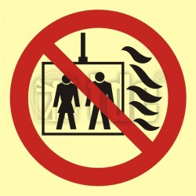 BB023 Znak nie używać dźwigu w przypadku pożaru