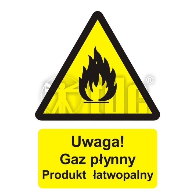 Znak uwaga! Gaz płynny - produkt łatwopalny BC 002