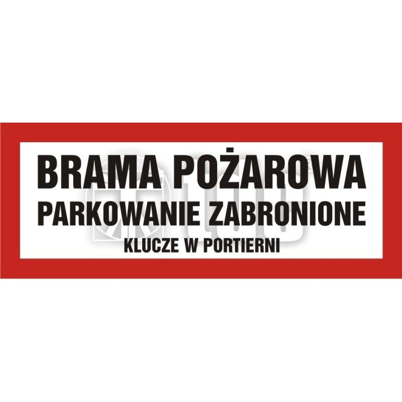 Znak brama pożarowa-parkowanie zabronione BC 112