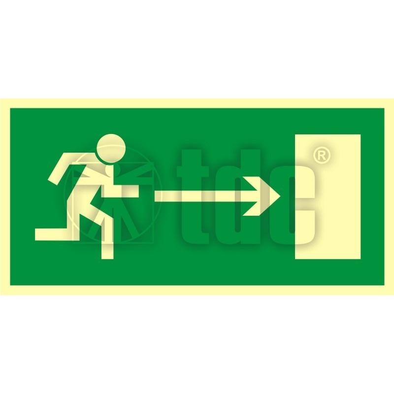 Znak kierunek do wyjścia drogi ewakuacyjnej w prawo AA 002