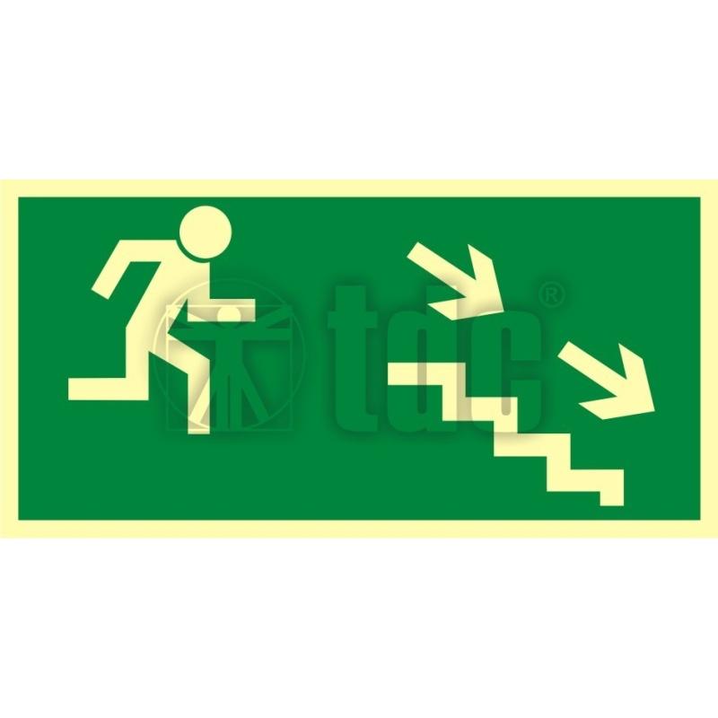 Znak kierunek do wyjścia drogi ewakuacyjnej schodami w dół w prawo AA 004