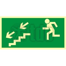 Znak kierunek do wyjścia drogi ewakuacyjnej schodami w dół w lewo AA 005