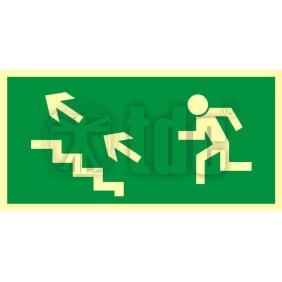 Znak kierunek do wyjścia drogi ewakuacyjnej schodami w górę w lewo AA 006