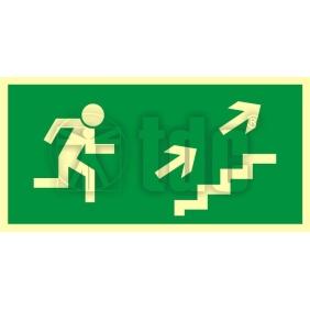 Znak kierunek do wyjścia drogi ewakuacyjnej schodami w górę w prawo AA 007