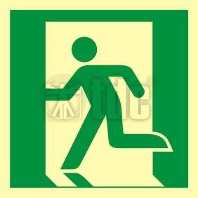 Znak wyjście ewakuacyjne (lewostronne) AA E001