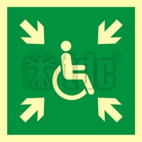 Znak miejsce zbiórki do ewakuacji dla osób niepełnosprawnych AA E024
