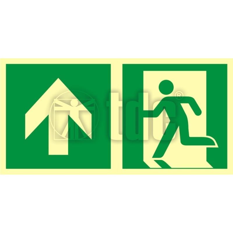 Znak kierunek do wyjścia ewakuacyjnego - w górę (lewostronny) AA E100
