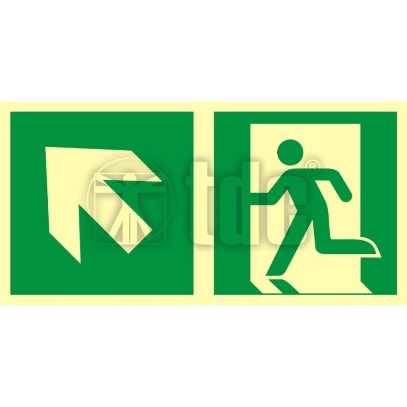 Znak kierunek do wyjścia ewakuacyjnego – w górę w lewo AA E101