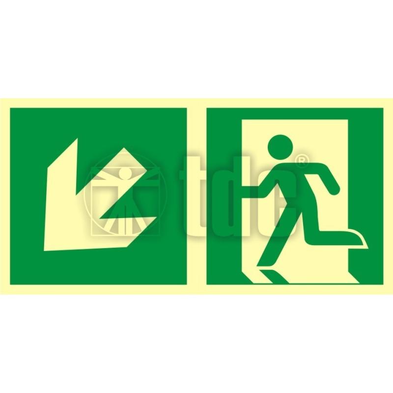 Znak kierunek do wyjścia ewakuacyjnego – w dół w lewo AA E103