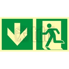 Znak kierunek do wyjścia ewakuacyjnego – w dół (lewostronny) AA E104