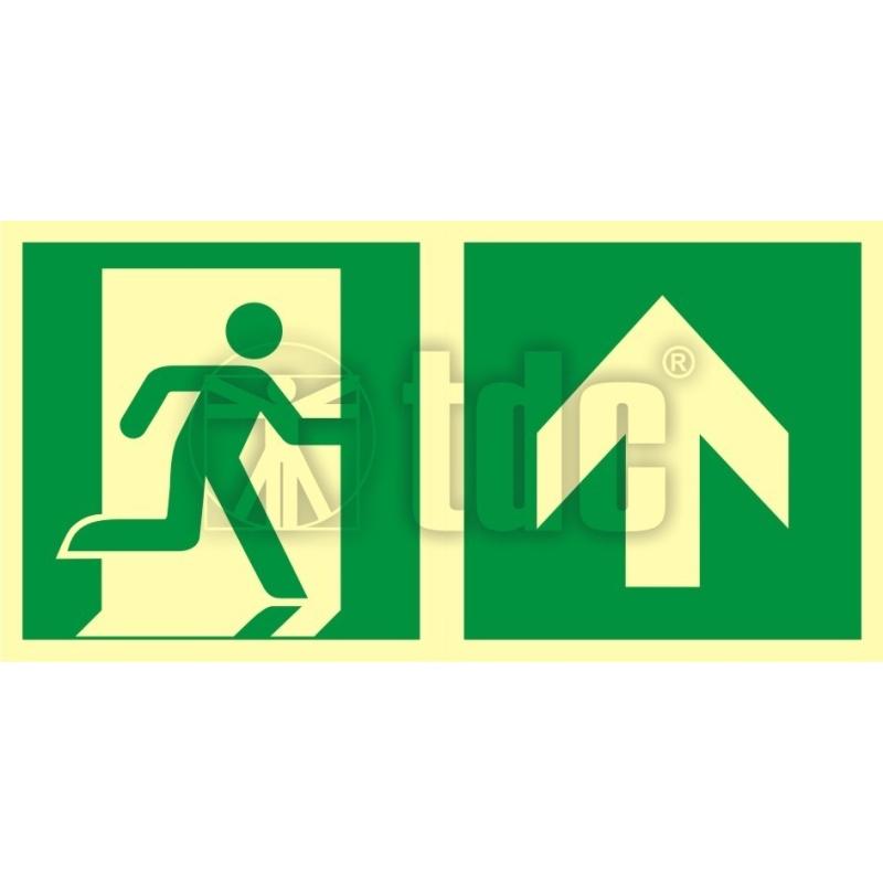 Znak kierunek do wyjścia ewakuacyjnego – w górę (prawostronny) AA E105