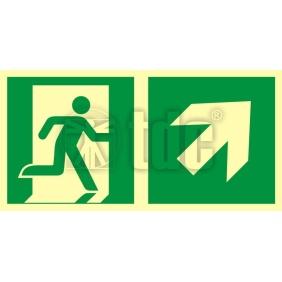 Znak kierunek do wyjścia ewakuacyjnego – w górę w prawo AA E106