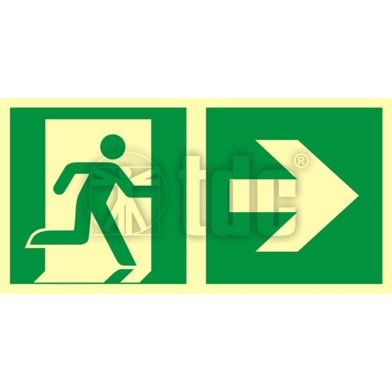 Znak kierunek do wyjścia ewakuacyjnego – w prawo AA E107