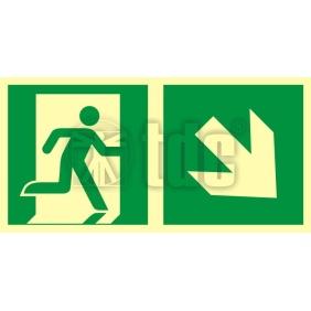 Znak kierunek do wyjścia ewakuacyjnego - w dół w prawo AA E108