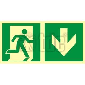 Znak kierunek do wyjścia ewakuacyjnego – w dół (prawostronny) AA E109