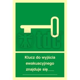 Znak klucz do wyjścia ewakuacyjnego znajduje się ..... AB 001