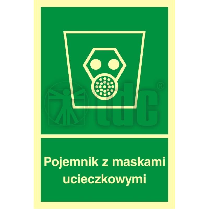 Znak pojemnik z maskami ucieczkowymi AB 003