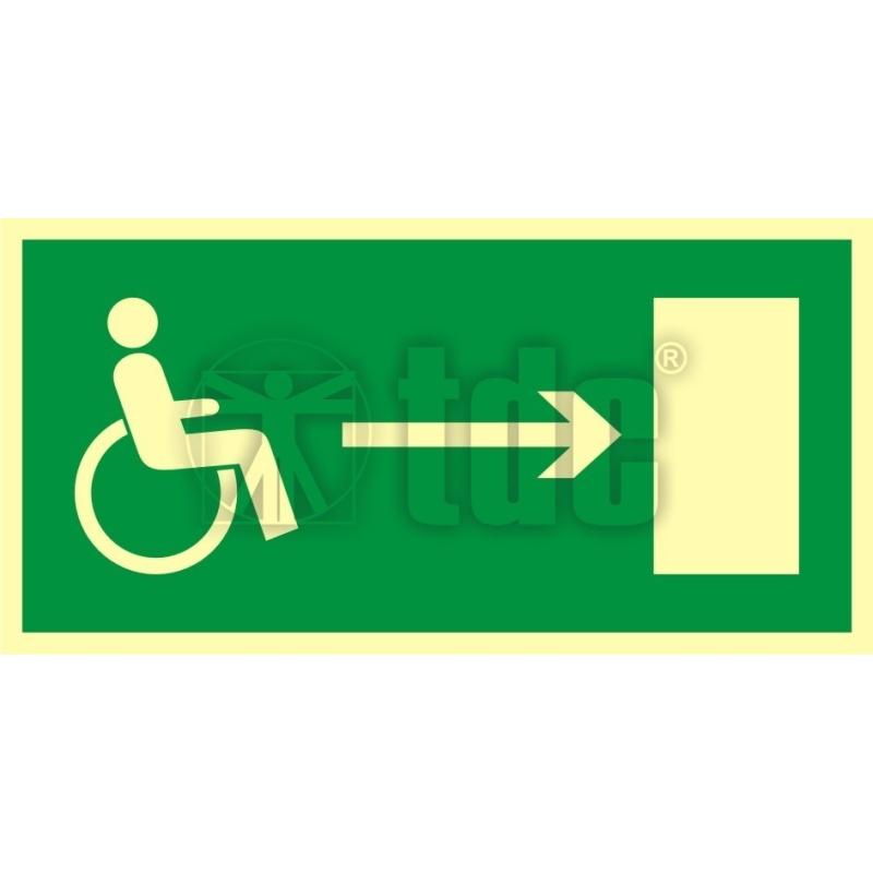Znak kierunek do wyjścia drogi ewakuacyjnej dla niepełnosprawnych w prawo AC 012