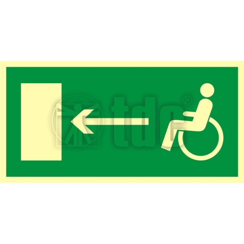Znak kierunek do wyjścia drogi ewakuacyjnej dla niepełnosprawnych w lewo AC 013