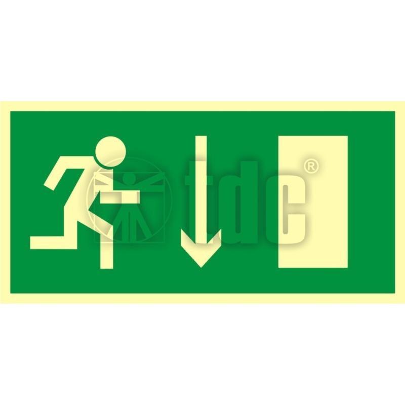 Znak kierunek do wyjścia drogi ewakuacyjnej w dół AC 014