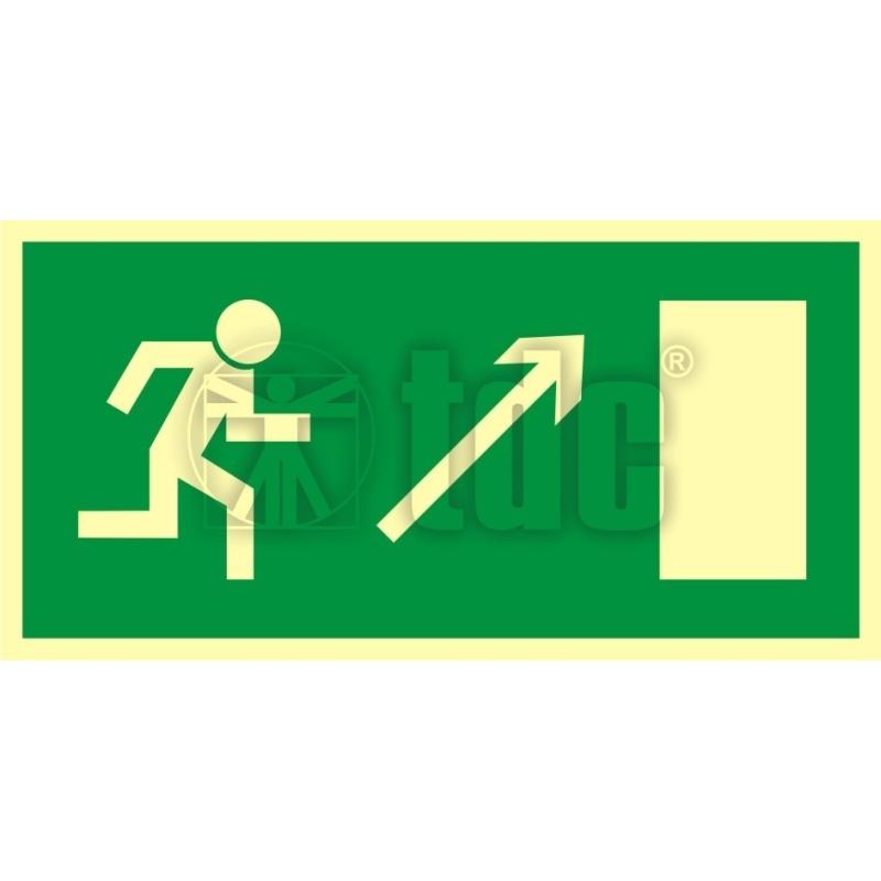 Znak kierunek do wyjścia drogi ewakuacyjnej w górę w prawo AC 018