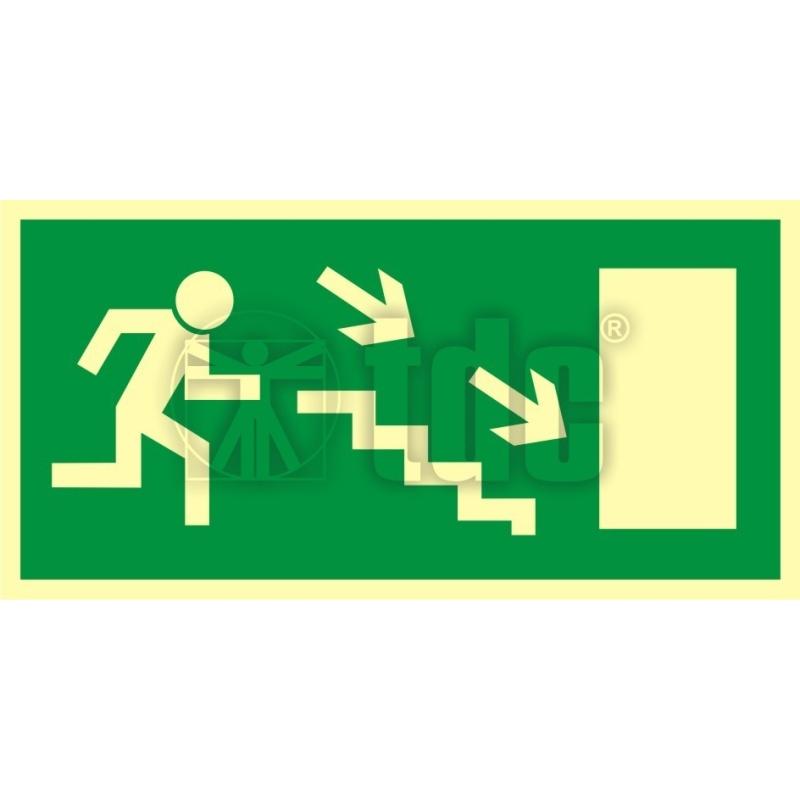 Znak kierunek do wyjścia drogi ewakuacyjnej schodami w dół w prawo AC 020
