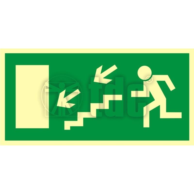 Znak kierunek do wyjścia drogi ewakuacyjnej schodami w dół w lewo AC 021