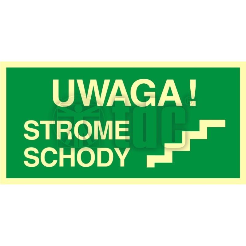 Znak uwaga strome schody AC 027