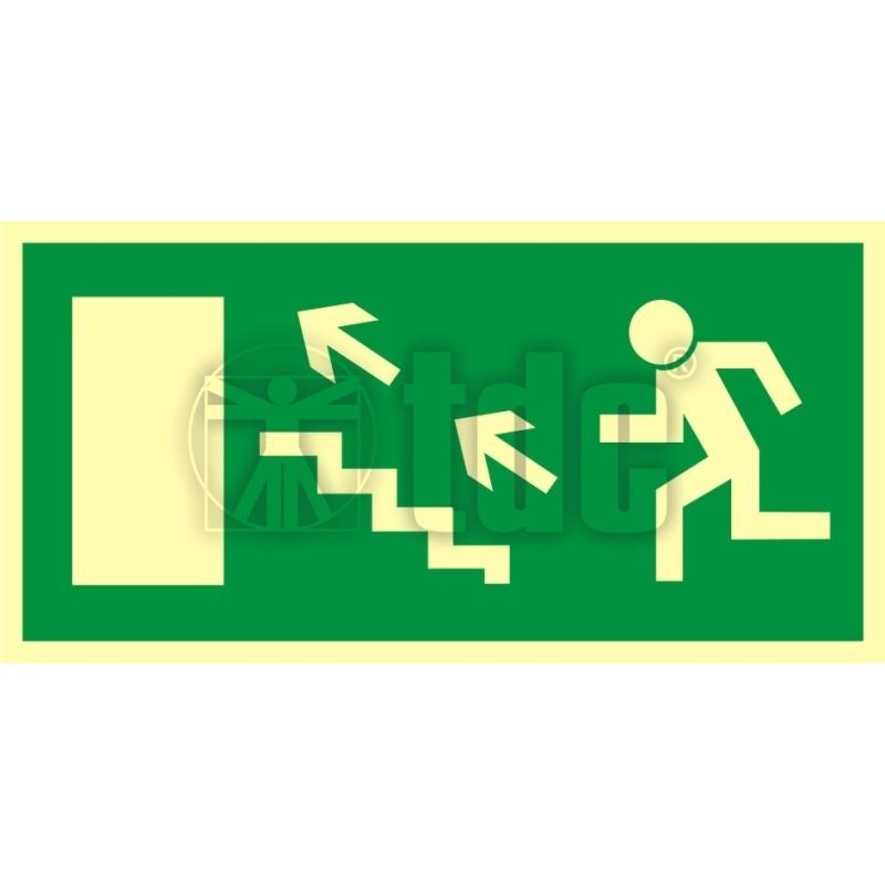 Znak kierunek do wyjścia drogi ewakuacyjnej schodami w górę w lewo AC 022