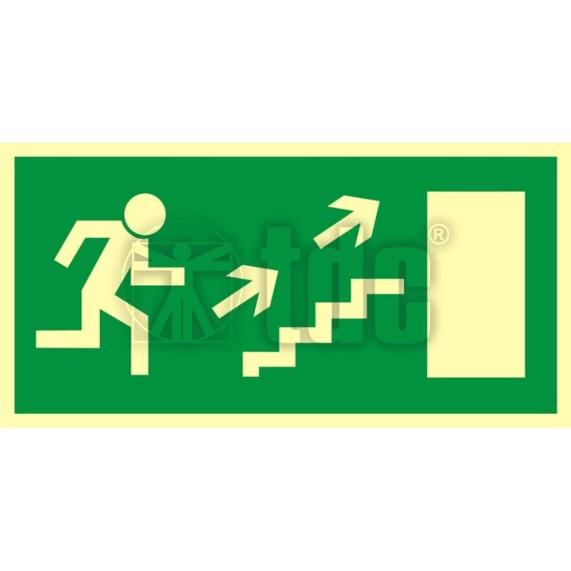 Znak kierunek do wyjścia drogi ewakuacyjnej schodami w górę w prawo AC 023