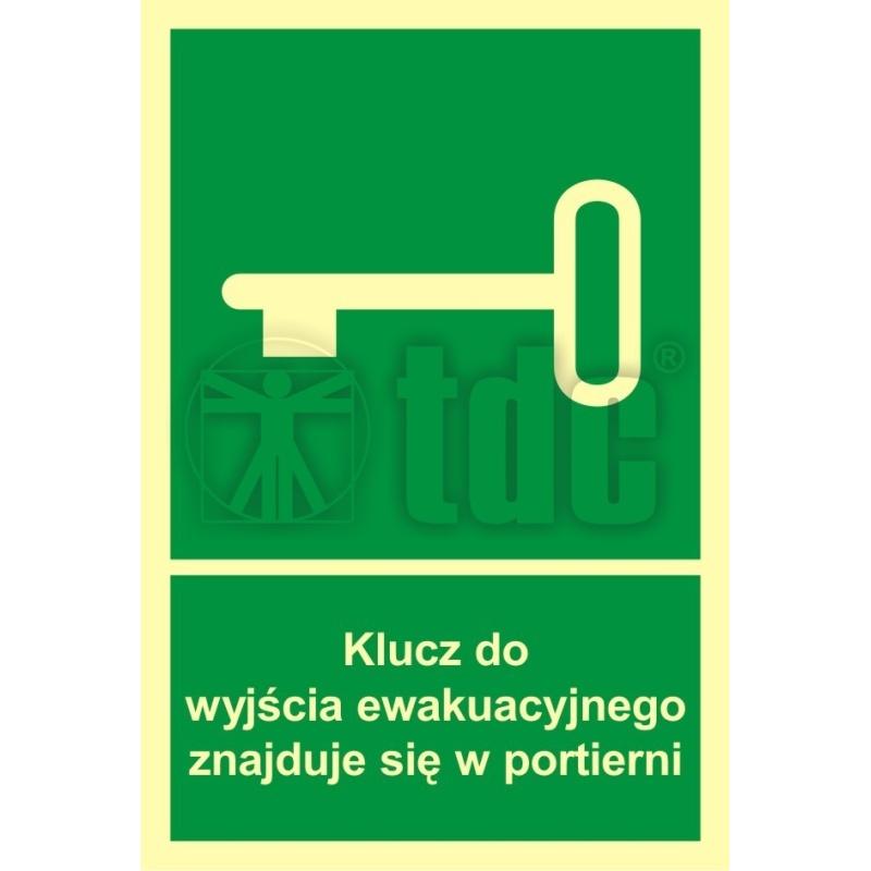 Znak klucz do wyjścia ewak. znajduje się w portierni AC 030
