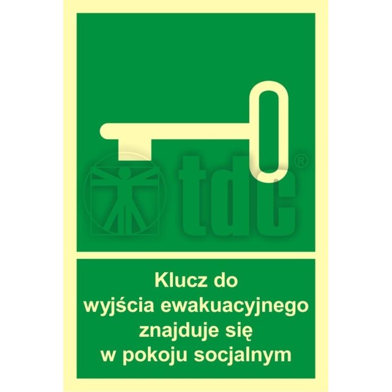 Znak klucz do wyjścia ewak. znajduje się w pok. socjalnym AC 031