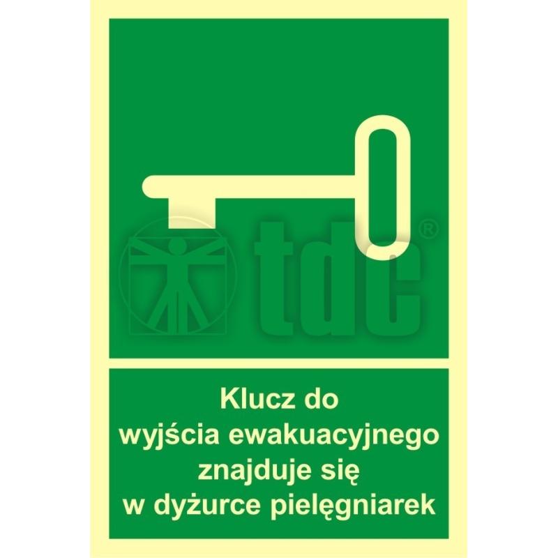 Znak klucz do wyjścia ewak. znajduje się w dyż. pielęgniarek AC 032