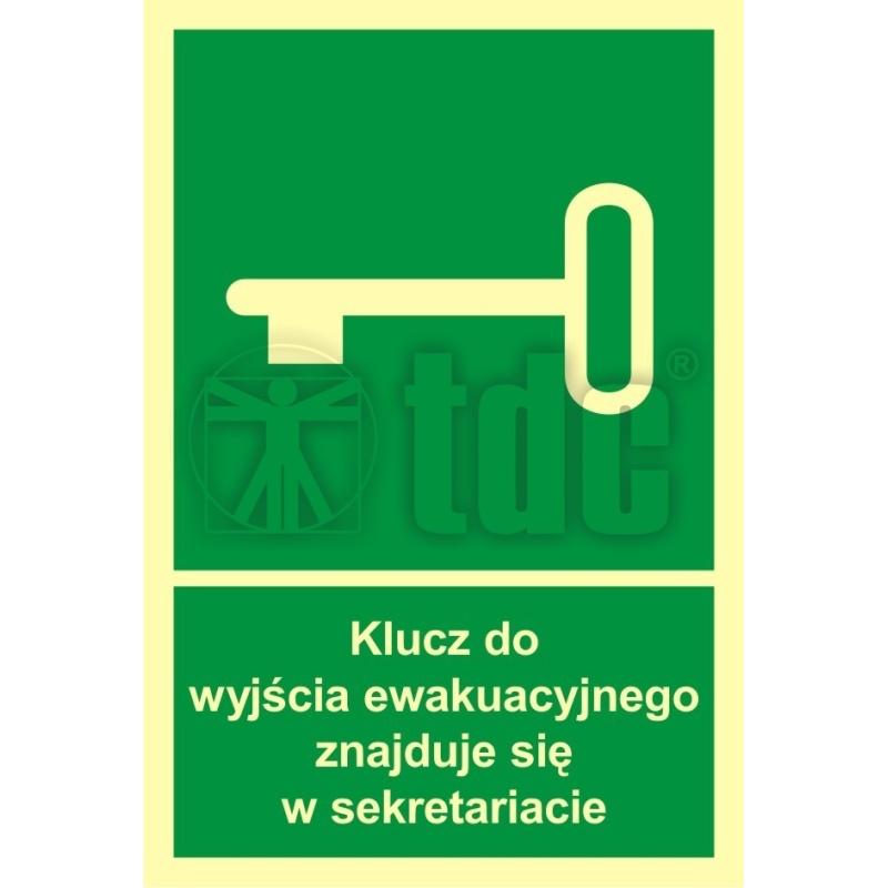 Znak klucz do wyjścia ewak. znajduje się w sekretariacie AC 033