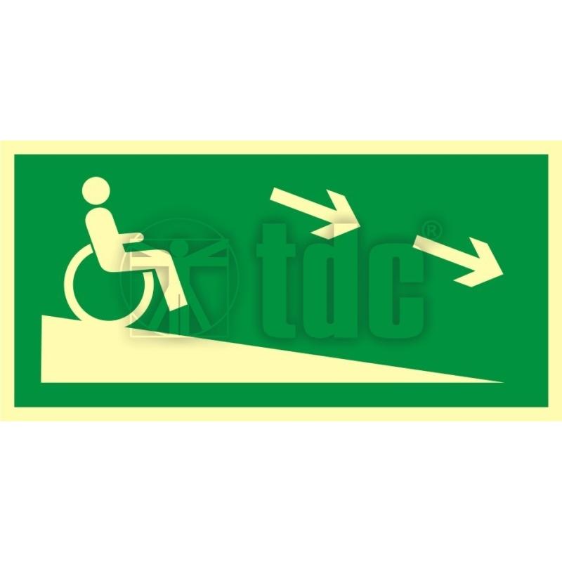 Znak zjazd ewakuacyjny na niższą kondygnację dla niepełnosprawnych w prawo AC 052