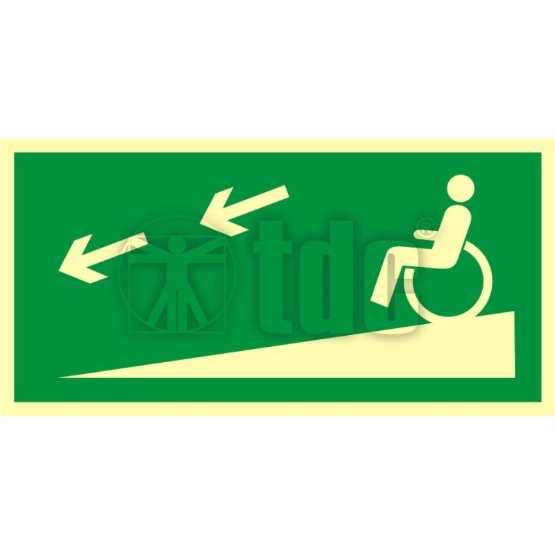Znak zjazd ewakuacyjny na niższą kondygnację dla niepełnosprawnych w lewo AC 053