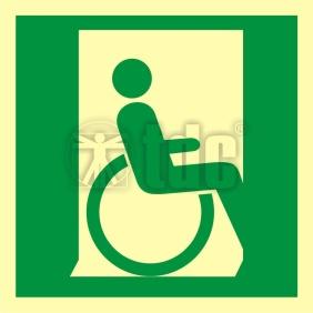 Znak drzwi ewakuacyjne dla niepełnosprawnych w prawo AA 055