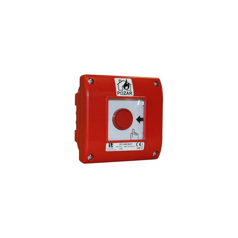 Ręczny ostrzegacz pożarowy, rozwierny, podtynkowy, IP65 OP1-W02-A-01