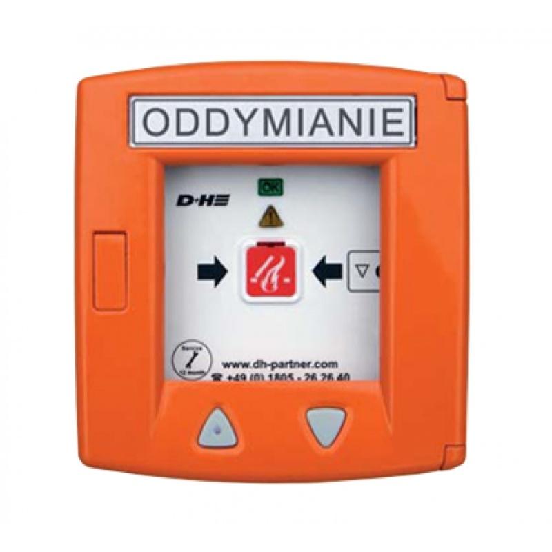 Przycisk oddymiania aluminiowy w kolorze pomarańczowym z przyciskiem do wentylacji RT 45-LT
