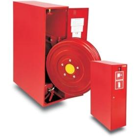 hydrant wewnętrzny 25HP+GP-805-W.W.20 (ZAW.) zawieszany, wykonanie boczne z gaśnicą i wysuwanym bębnem
