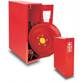 Hydrant wewnętrzny 25HP+GP-805-W.W.30 wnękowy, wykonanie boczne z gaśnicą i wysuwanym wężem